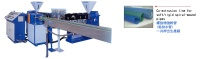 Co-extrusion line for soft-rigid spiral-wound pipes