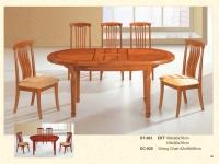 木製橢圓形伸縮桌 383 / 餐椅 920