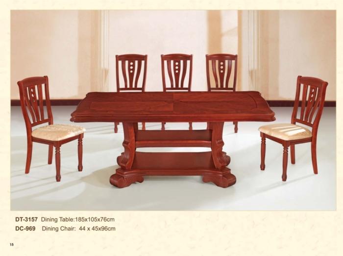 木制长方桌 3157 / 餐椅 969