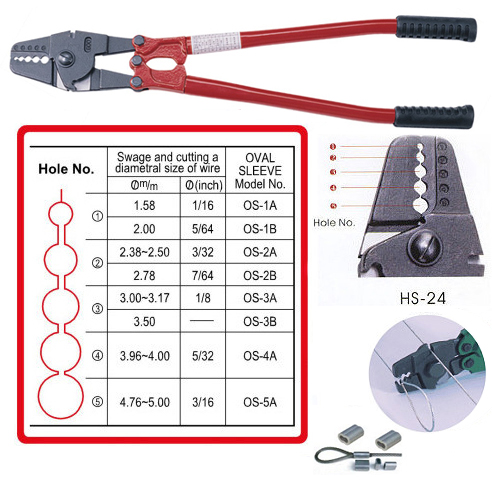 """24"""" Hand Swager With Wire Cutter/ Crimping Tool"""