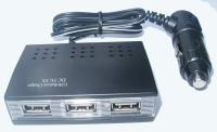USB + Triple-socket car charger (3A)