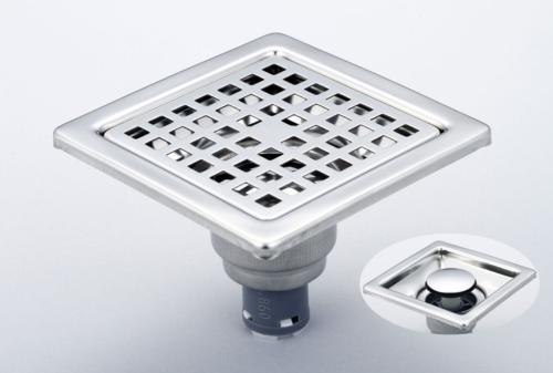 御品師 9x9 內按壓式附蓋防蟲、防臭地板落水頭 (方型孔)