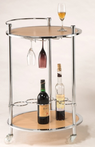 Two-layer, three-leg cart with glass rack