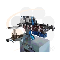 五軸加工中心機-電子式機械手平置式鏈條刀庫