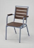 仿木戶外有扶手餐椅