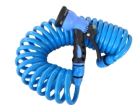 """3/8"""" 25FT coil hose with plastic connector and 6 pattern plastic trigger nozzle"""