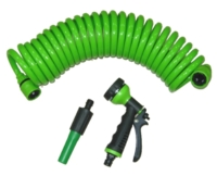 """3/8"""" 25FT coil hose with plastic connector and plastic trigger nozzle"""