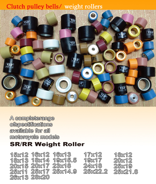 Clutch pulley bells/weight rollers
