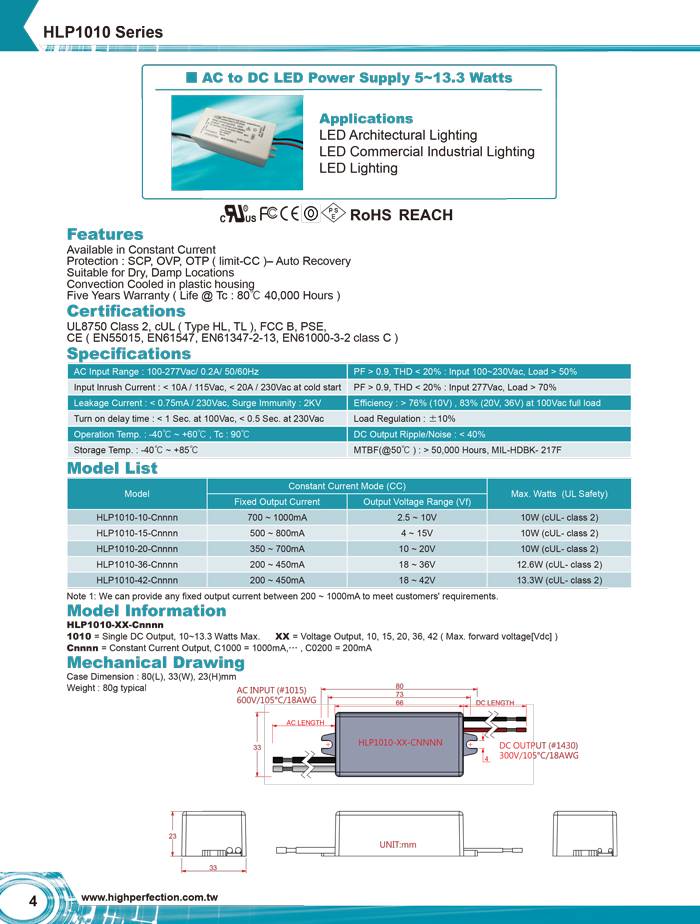HLP1010 Series - AC to DC LED Switching