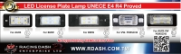 LED License Plate Lamp UNECE E4 R4 Proved