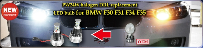 PW24W halogen DRL replacement LED Bulb for BMW F30 F31 F34 F35