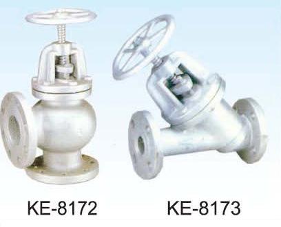 ANGLE GLOBE VALVE, FLANGED ENDS