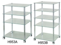 K/D 4-Tier Glass Cart With Casters & K/D 5-Tier Glass Shelf Cart With Casters