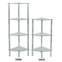 K/D 4-Tier Glass Corner Rack & K/D 3-Tier Glass Corner Rack