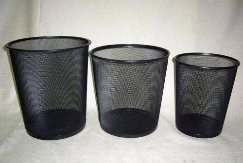 圓形拉網烤黑垃圾桶-大.中.小