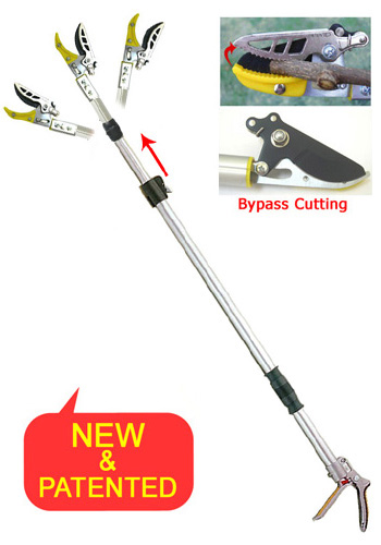 Telescopic Length Long Reach Pruner with Adjustable Angle Head