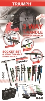 3 Way T-Handle Spinner Wrench and Socket Set