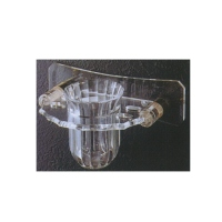 Wall-mount, brass-alloy and acrylic gargling cup holder