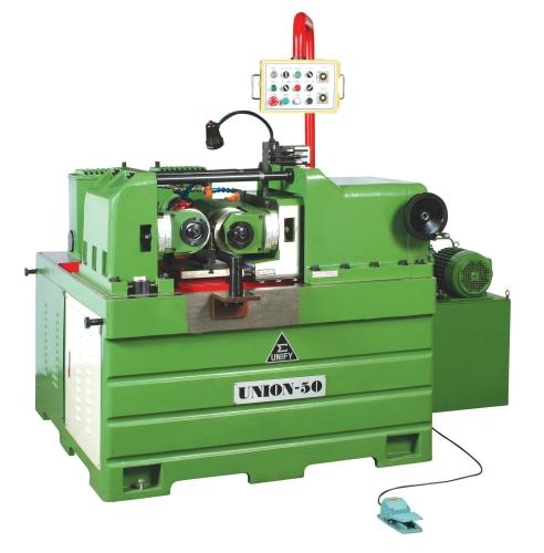 Hydraulic thru feed type thread rolling machine