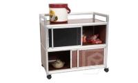 Two-tier Screen-door Storage Cabinet w/Casters (3 ft. wide)