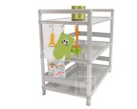 Two-tier Storage Cabinet (w/doors, 3.0 ft. wide) w/Multipurpose Hooks