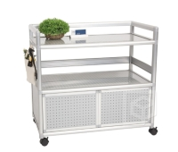 Dual-functional Two-tier Storage Chest (w/doors, 3.0 ft. wide) w/Multipurpose Hooks