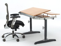 Manual Height Adjustable Tilt Table + e-Chair