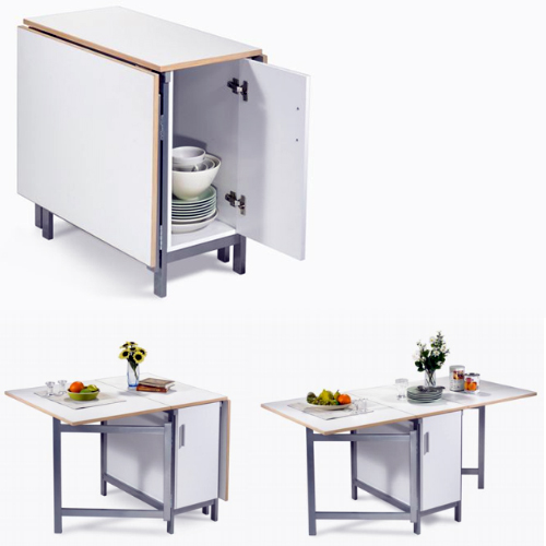 Folding Table with Cabinet