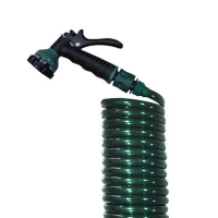 Garden Coil Hose With 7-Pattern Spray nozzle