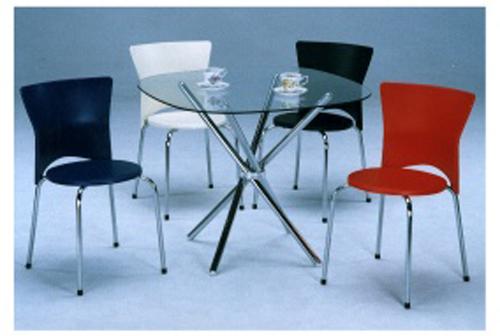 S-851T 交叉桌铁管/玻璃/S-873塑胶椅