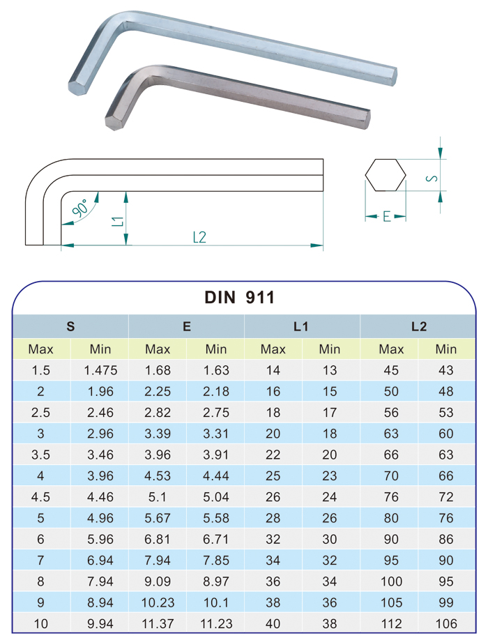 L Type Hexagon Wrench Key