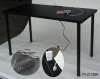Computer table with USB charger and power sockets