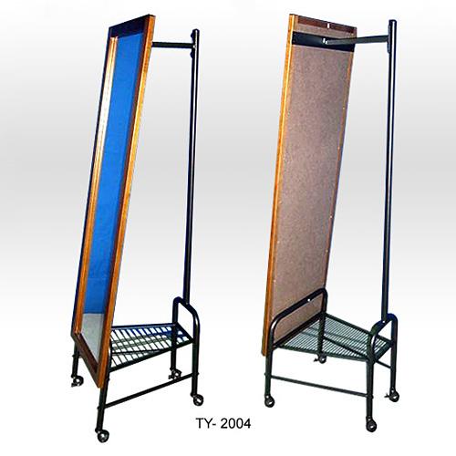Floor-Standing Mirror With Garment Rack