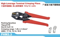High-leverage teminal crimping pliers