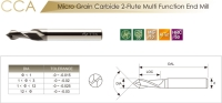 Solid Carbide 2-Flute Multi Function End Mill