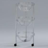 Fastener-free 3-basket Wire Rack