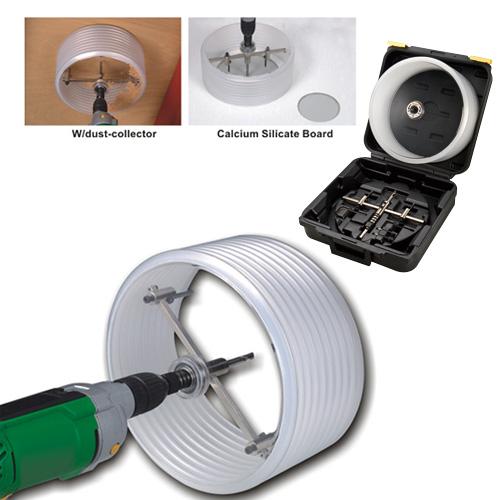 雙刀鎢鋼割圓器-可伸縮集塵安全罩/多用途手搖鑽/木工手工具/鑽孔工具
