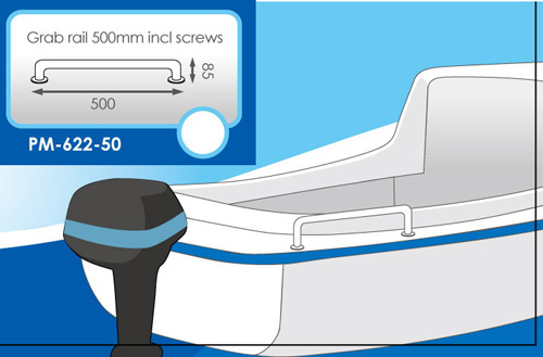 Grab Rail 500mm Incl Screws Stainless Steeltubing:25mm Dia