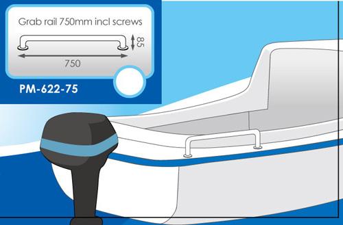 Grab Rail 750mm Incl Screws Stainless Steeltubing:25mm Dia