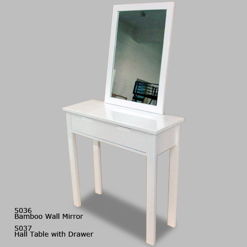 Bamboo Wall Mirror & Hall Table with Drawer