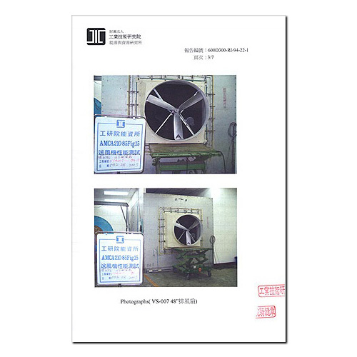 测试报告-工研院绿能所送风实验室测试