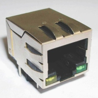 RJ45单颗带滤波器和LED灯 100MHz