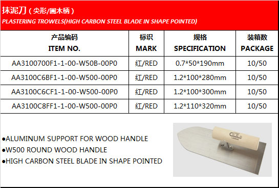 PLASTERING TROWELS(HIGH CARBON STEEL BLADE IN SHAPE POINTED)