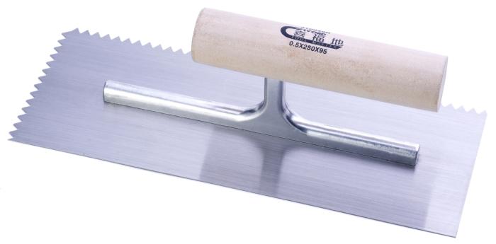 抹泥刀(圓木柄/尖齿/高碳鋼刀片)