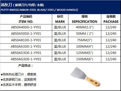 油灰刀(碳钢刀片/均厚/ 木柄)