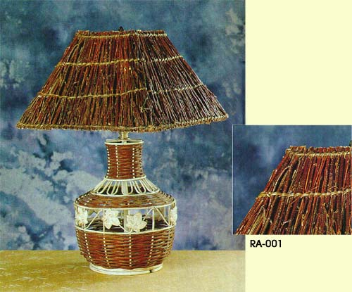 Paper Woven, Rattan, Beeded Shade
