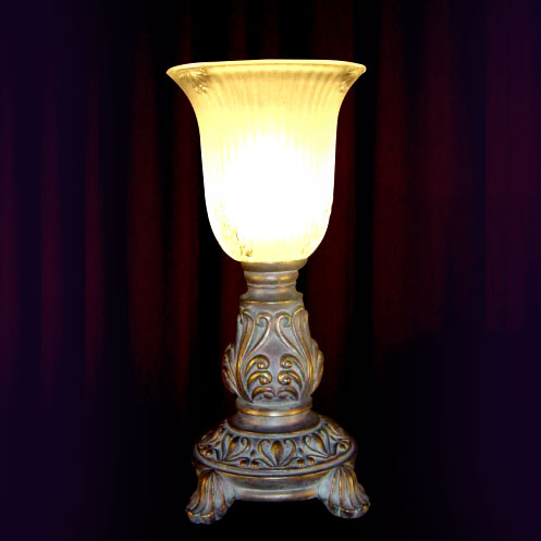 ROLL LEAF MINI LAMP W/GLASS SHADE