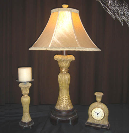 GOLDEN WHEAT TABLE LAMP / CANDLE HOLDER / CLOCK
