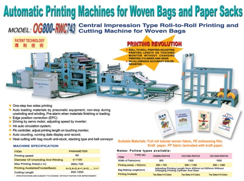 Central Impression Type Roll-to-Roll Printing and Cutting Machine for Woven Bags