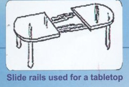Slide rails used for a tabletop